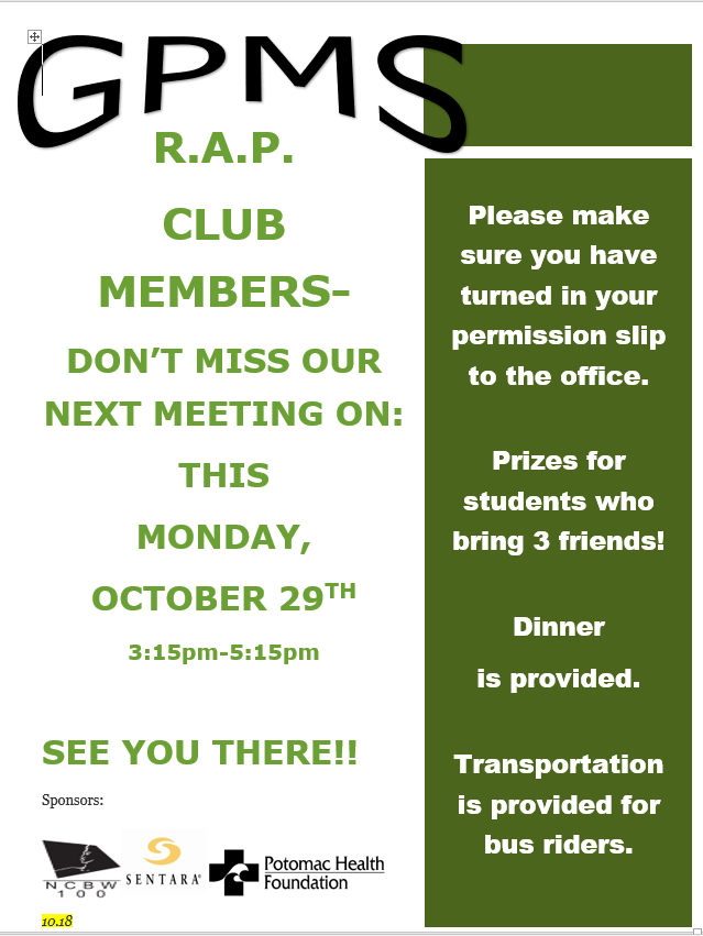 RAP CLUB FLYER Meeting Oct 29 2018